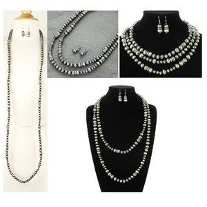 "Extra Long 60"" Silver Faux Navajo Pearl Necklace"